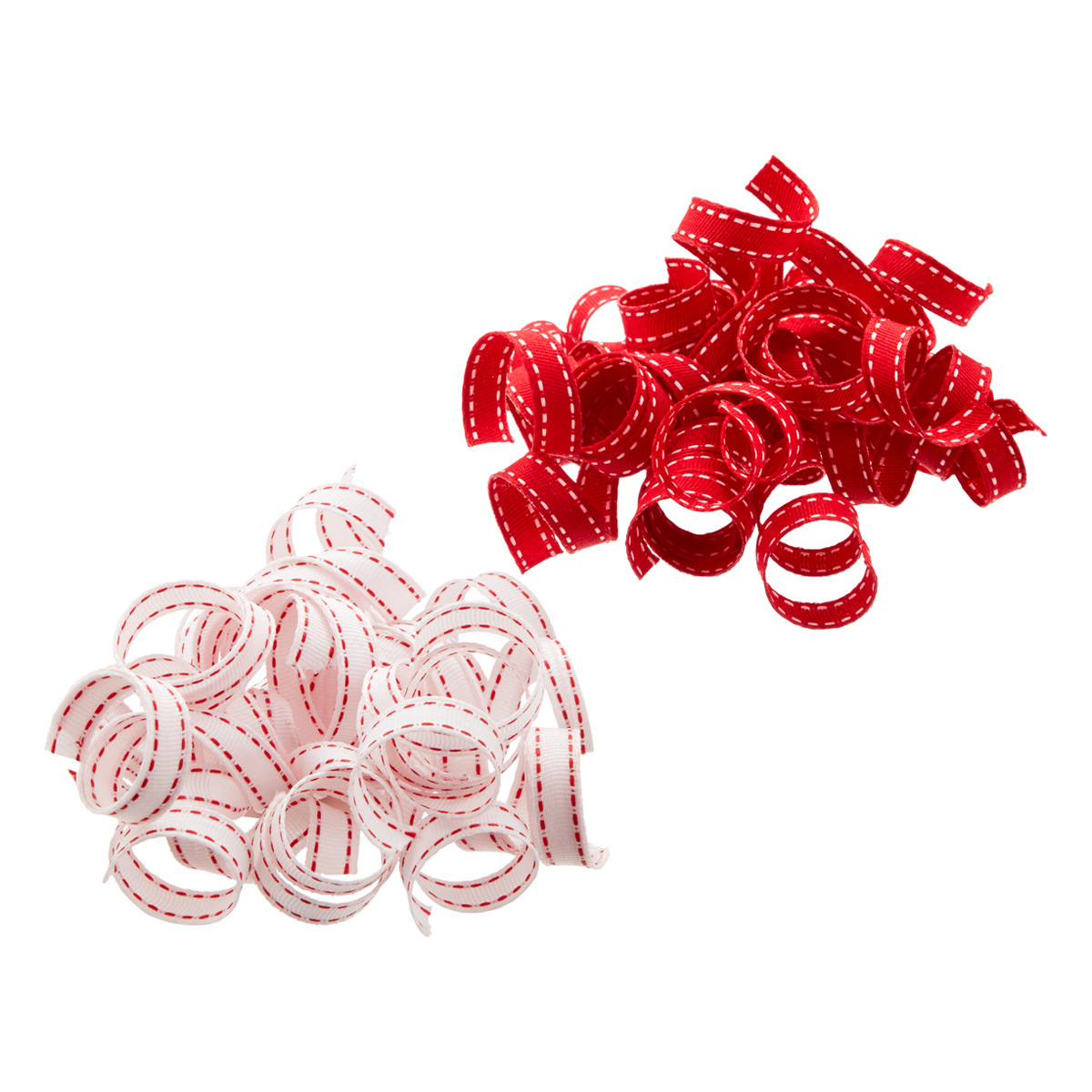 Bow Curly Red w/White Stitch &