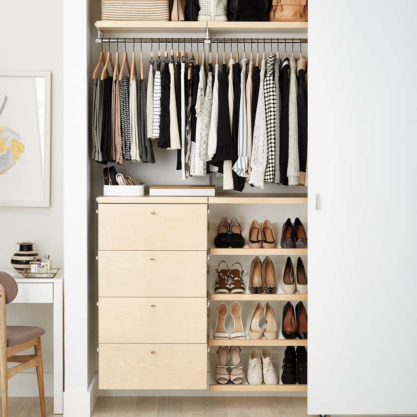 Birch Elfa Décor Closet with Drawer Fronts