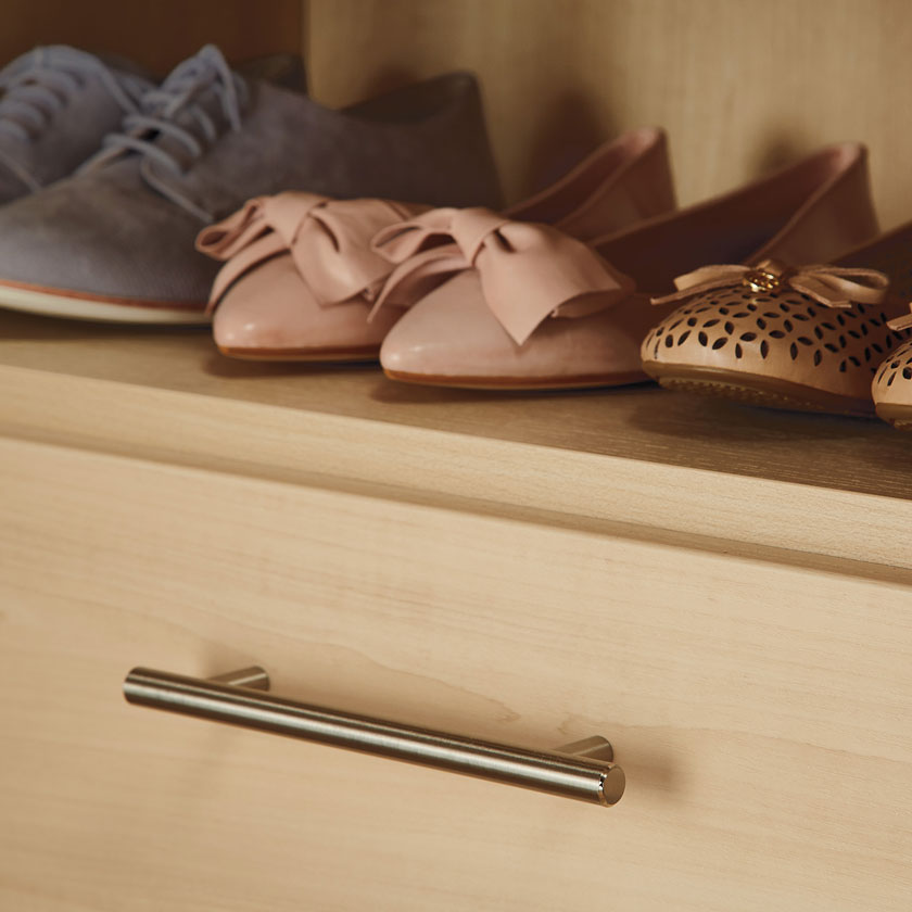 Satin Oak TCS Closet Smooth Drawer with Bar Pull