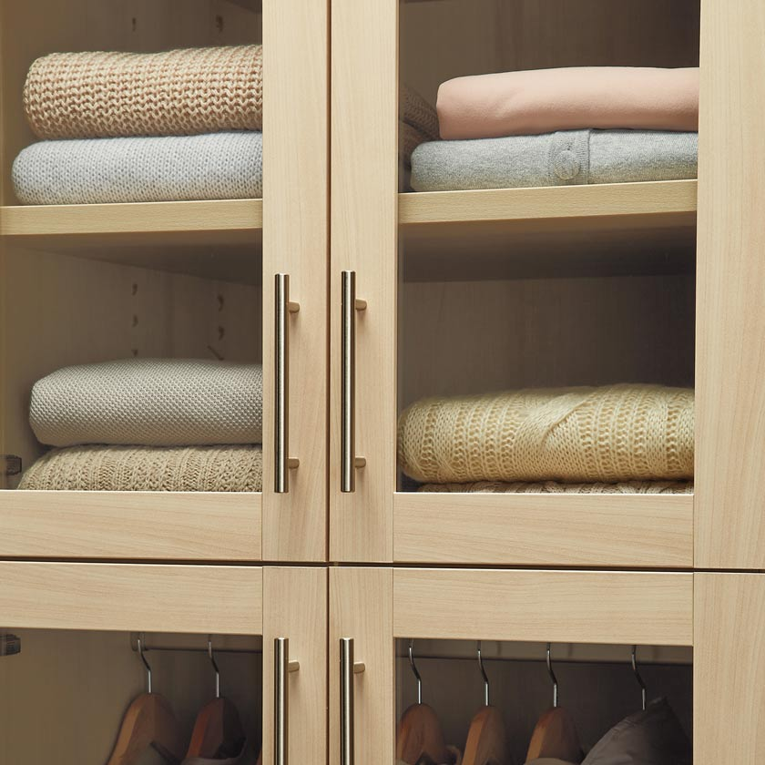 Satin Oak TCS Closet with Tempered Glass Shaker Doors