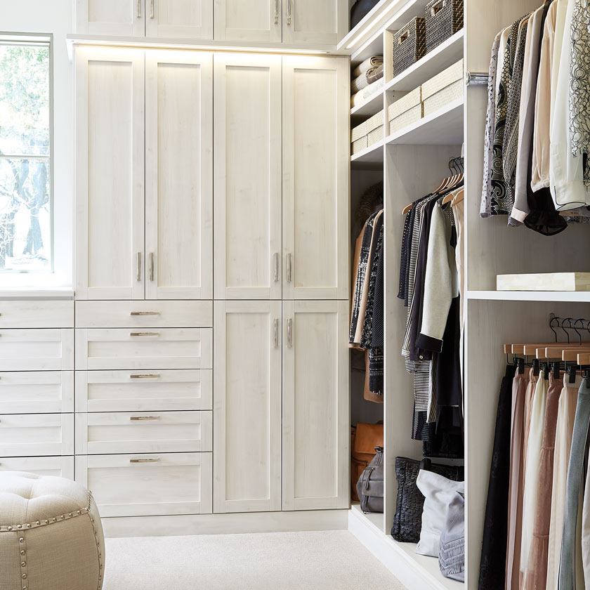 Aspen TCS Closet with Shaker Doors, Drawers and LED Lighting
