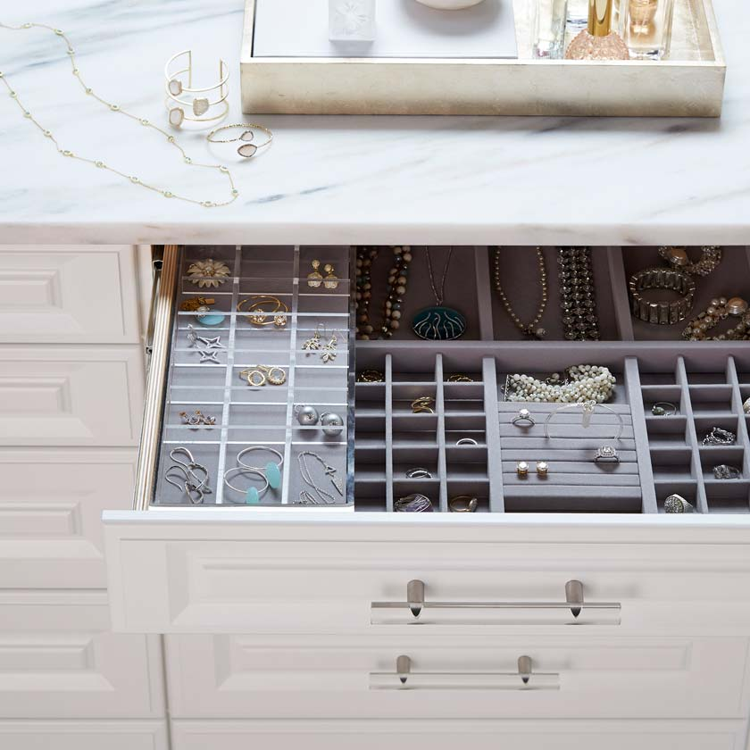 Pure White TCS Closet Customizable Island with Traditional Drawers and Accessory Trays