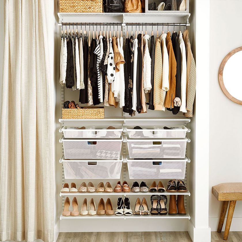 White Elfa Classic Closet with Mesh Drawers