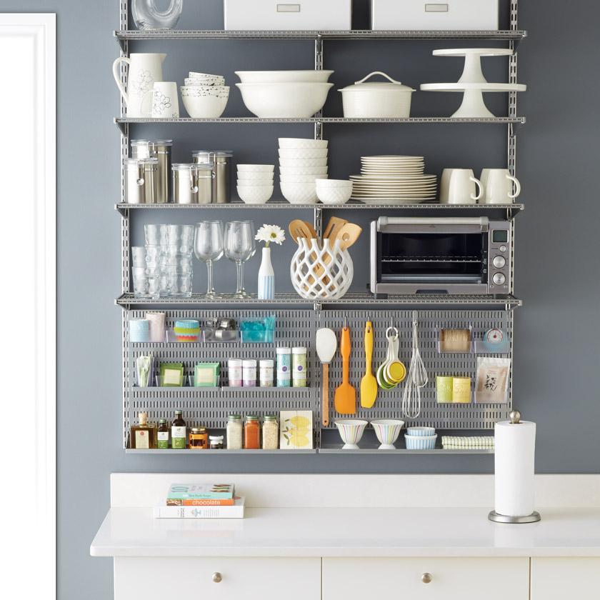 Platinum Elfa Ventilated Shelving with Kitchen Utility Board