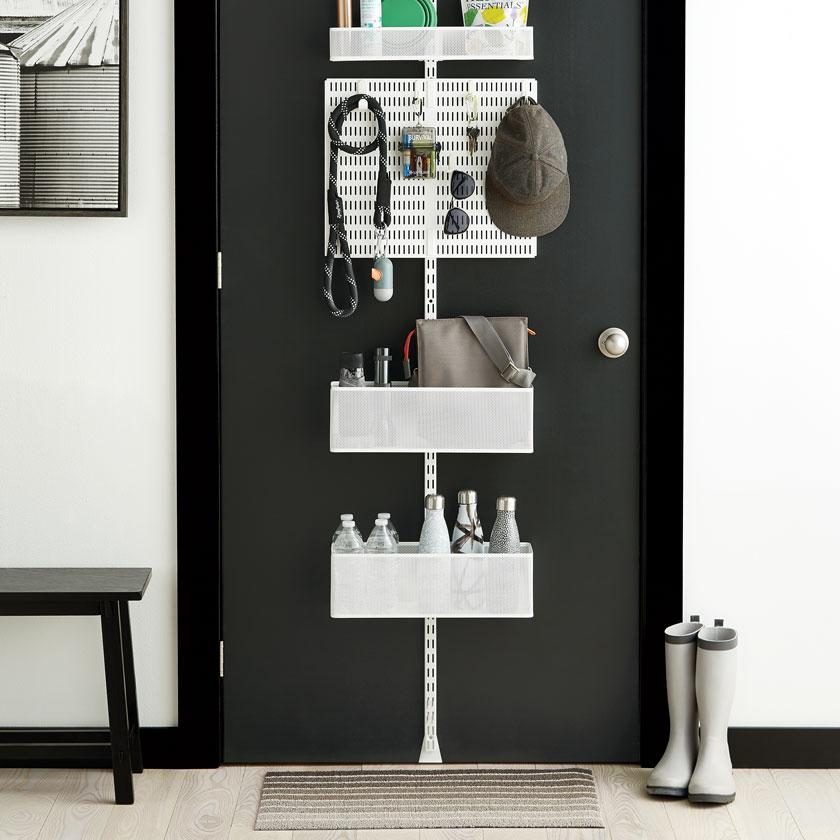 Elfa Utility White Mesh Pantry Door Wall Rack: Custom Closets - Custom Closet Shelving & Systems