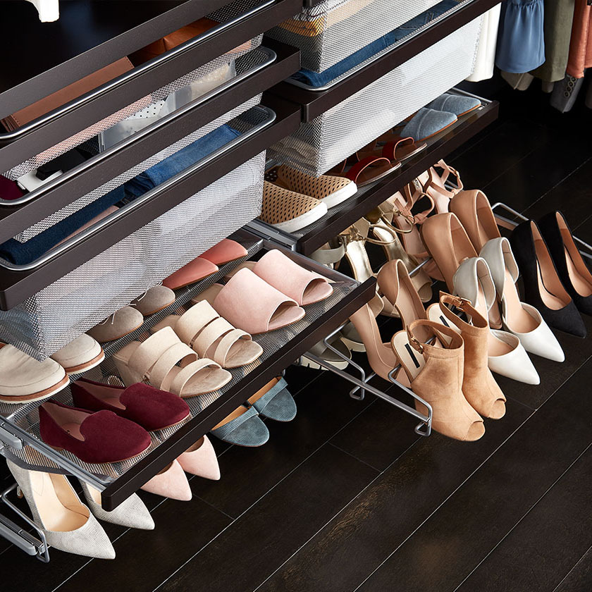 Walnut Elfa Décor Gliding Shoe Shelves and Rack