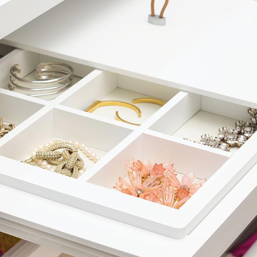 White Elfa Décor Jewelry System