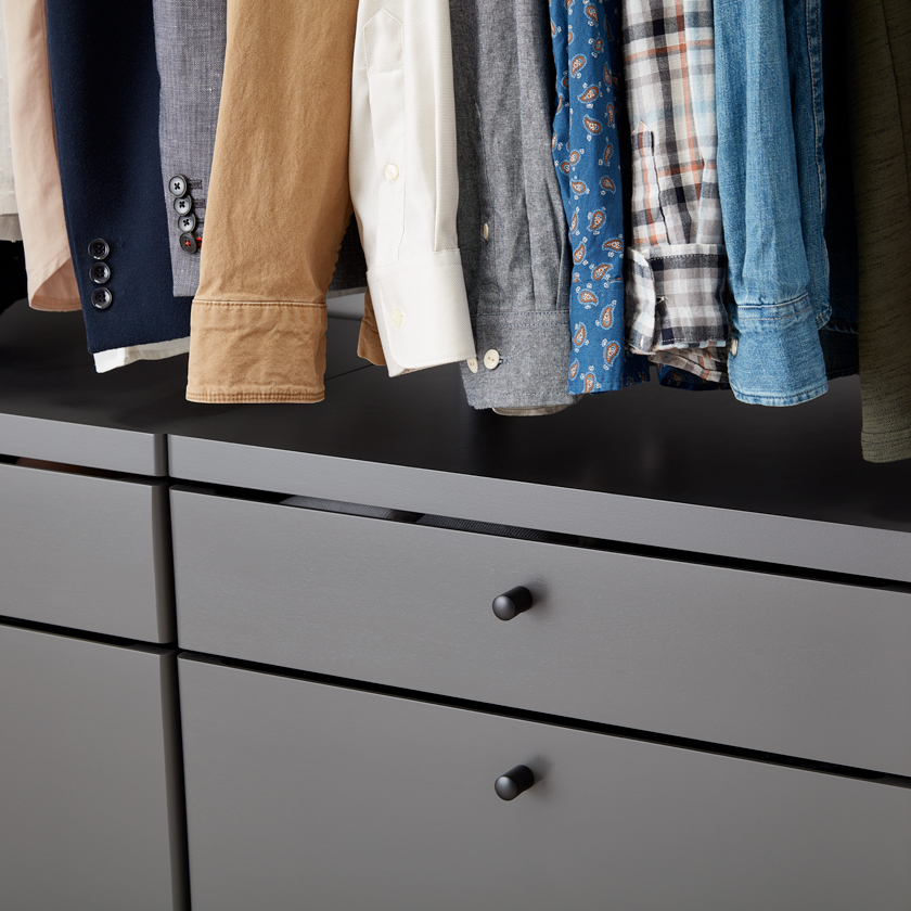 Grey Elfa Décor Drawer Fronts