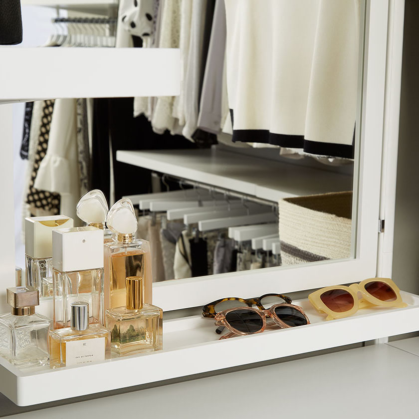 White Elfa Décor Mirror and Accessory Shelf