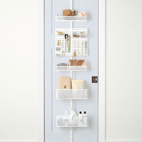 White Elfa Utility Closet Door & Wall Rack with utility Board