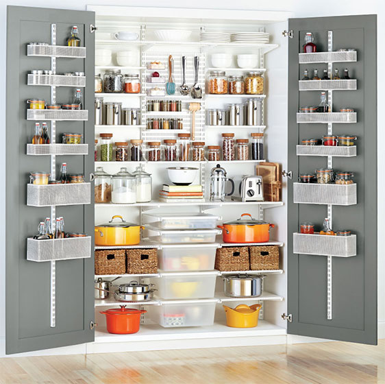 White Elfa Utility Pantry with dual Door & Wall Racks