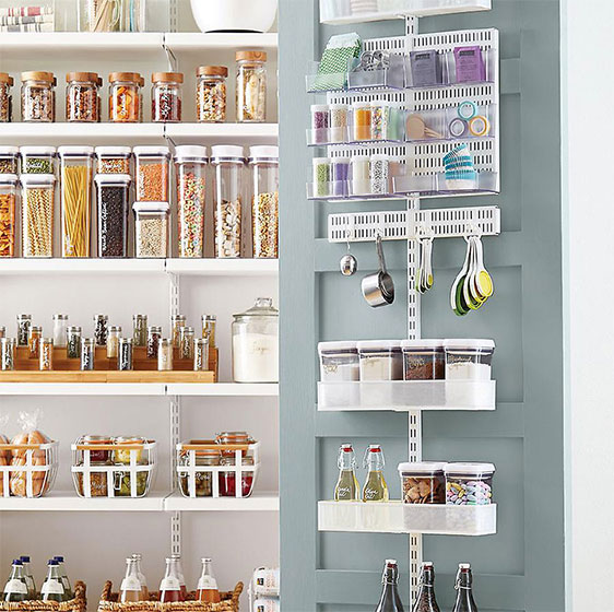 White elfa utility Pantry Door \u0026 Wall Rack with Mesh Baskets  sc 1 st  The Container Store & Wall Racks Door Racks \u0026 Door Shelving Systems | The Container Store