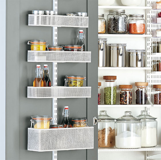 White Elfa Utility Pantry Door & Wall Rack with Mesh Baskets