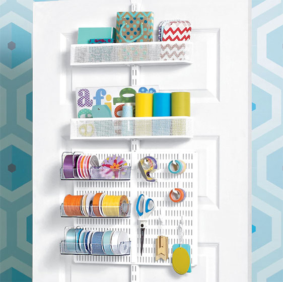 White Elfa Utility Gift Wrap Door & Wall Rack with Mesh Baskets