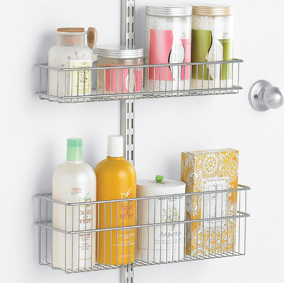 Platinum Elfa Utility Bath Door & Wall Rack with Wire Baskets