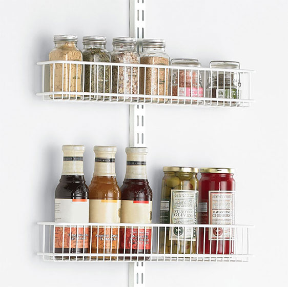 White Elfa Utility Pantry Door & Wall Rack with Wire Baskets