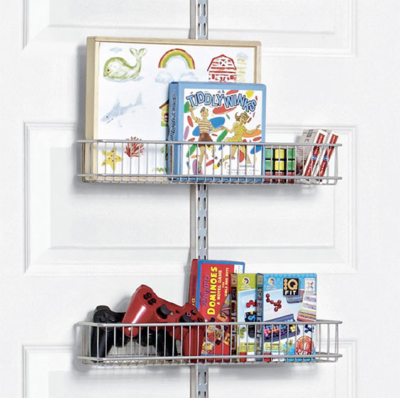 Platinum Elfa Utility Kid's Closet Door & Wall Rack with Wire Baskets