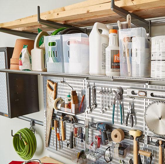 Platinum Elfa Utility Garage With Utility Bracket Posts