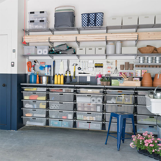 elfa utility Garage with Mesh Drawers