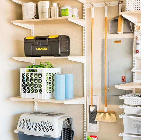 Sand elfa utility Shelves with utility Hooks