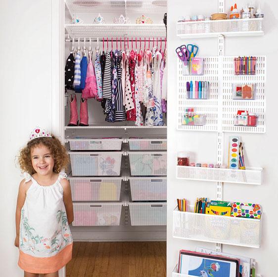 White Elfa Kid's Closet with Door & Wall Rack