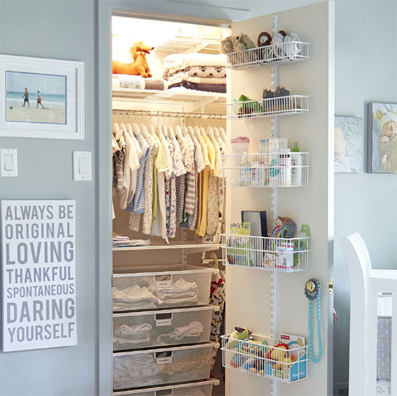 White Elfa Classic Nursery Closet With Utility Door Wall Rack