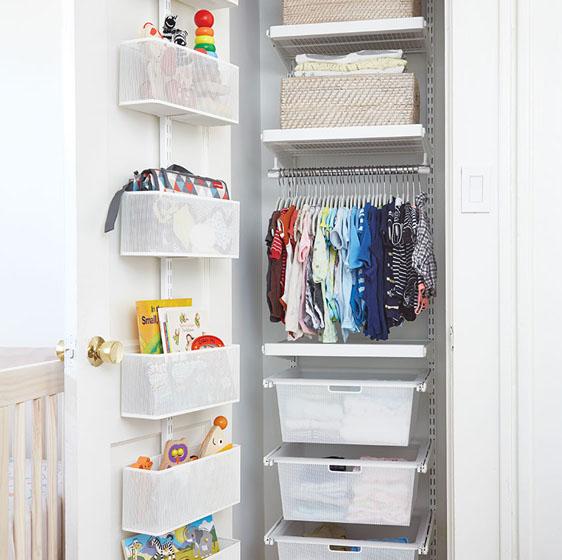 """18"""" White Elfa Décor Nursery Closet with Door & Wall Rack"""