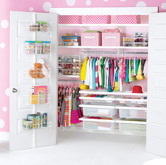White Elfa Décor Kid's Closet with utility Door & Wall Rack