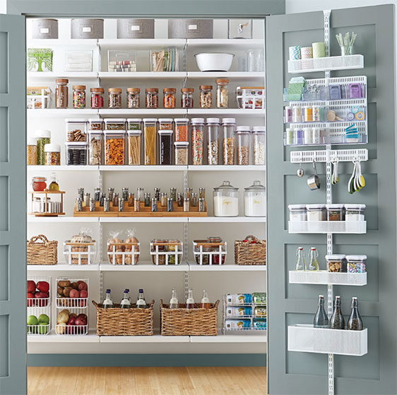 White Elfa Décor Pantry with utility Door & Wall Rack