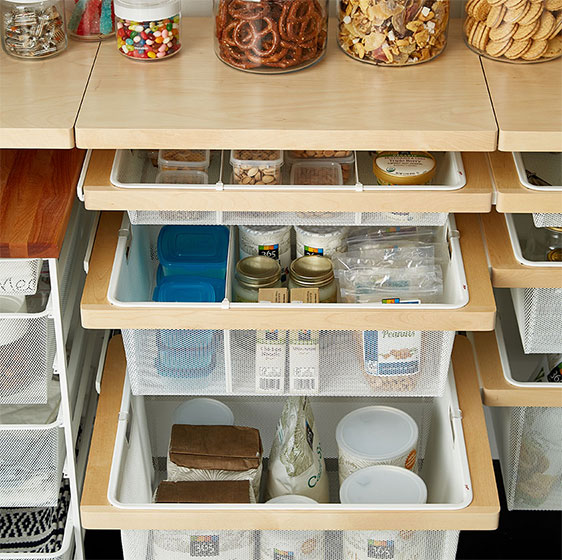 Birch Elfa Décor Shelves and Mesh Drawers