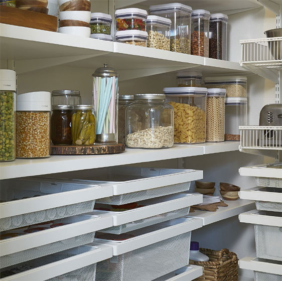 White Elfa Décor Pantry with Mesh Drawers and Shelf Baskets