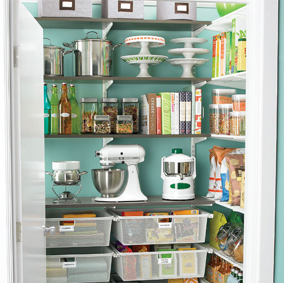 Driftwood and White Elfa classic Pantry with Mesh Drawers