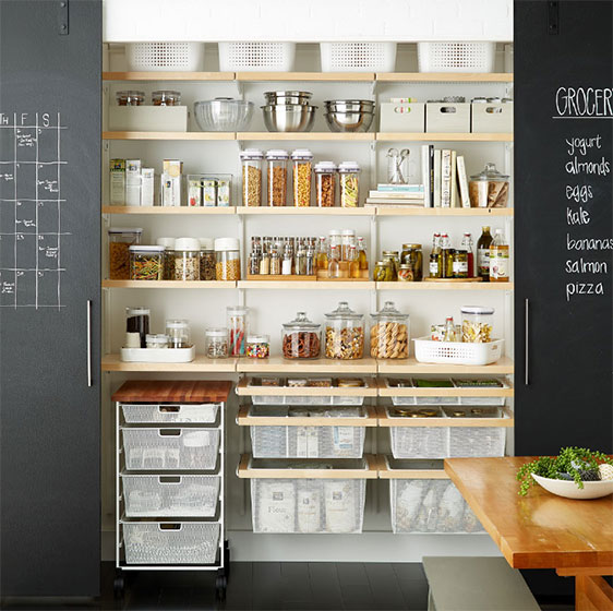 White and Birch Elfa Décor Pantry with Mesh Drawers