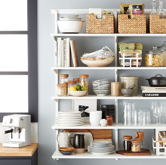 White and White Elfa Shelving