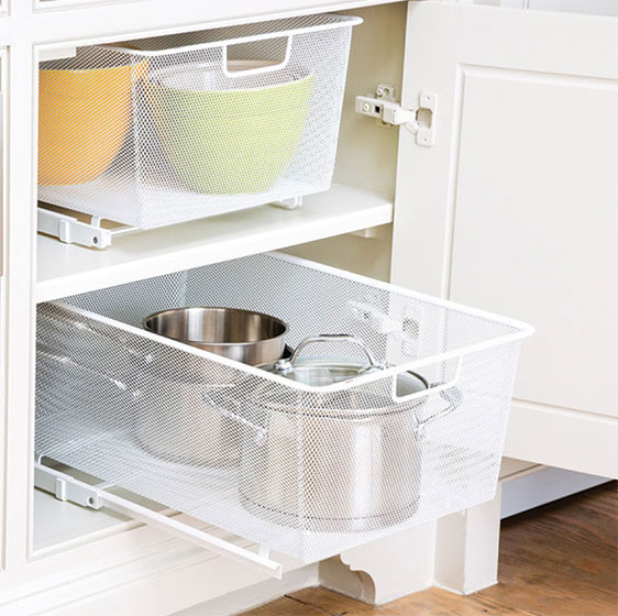 White Elfa Mesh Easy Glider Drawers