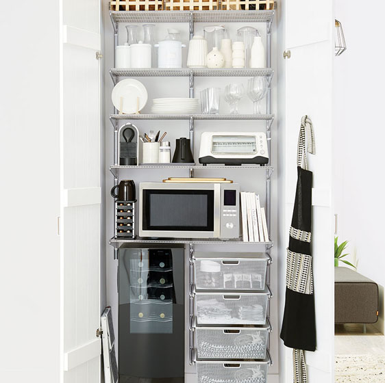 "Platinum Elfa CLassic Pantry with 18"" Mesh Drawers"