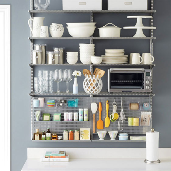 Platinum Elfa Ventilated Shelving and utility Kitchen Board