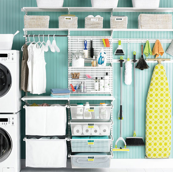 White Elfa Utility Laundry Space with Dual Hampers