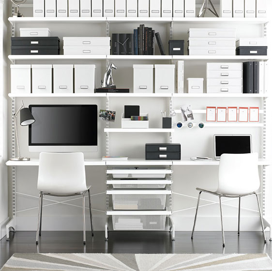 White Elfa Décor freestanding Office for Two