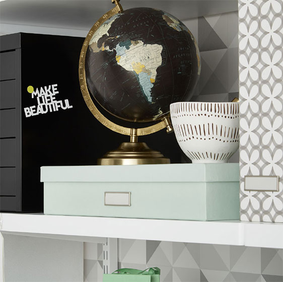 White Elfa Décor Shelves and Stockholm Desk Accessories