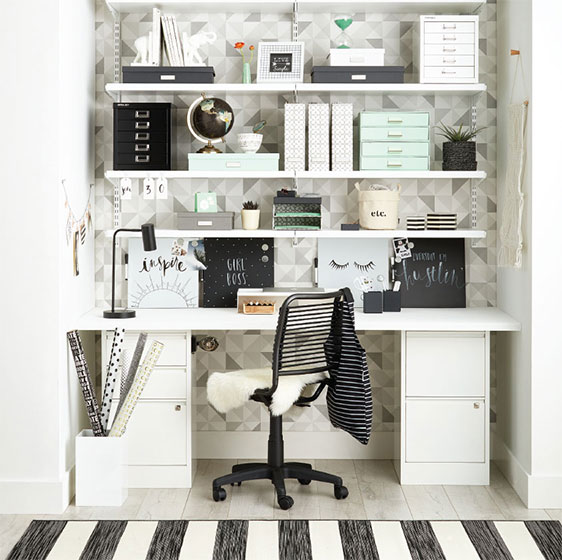 White Elfa Décor Office with Elfa Desk and Bisley File Cabinets