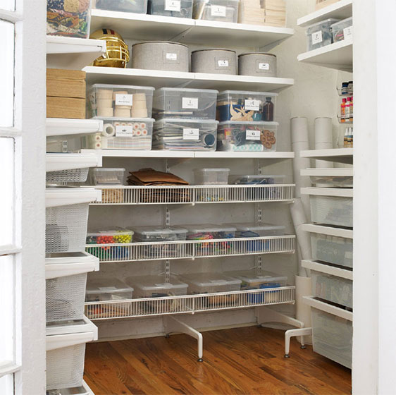 White Elfa freestanding Supply Closet