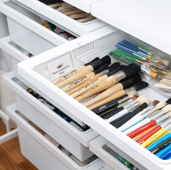 White Elfa Décor Drawers