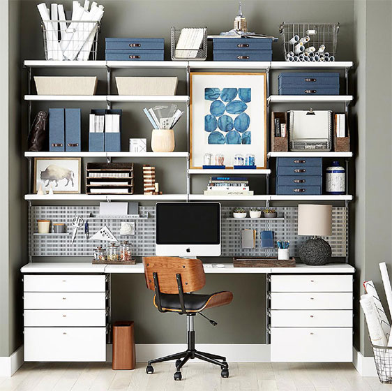 White Elfa Décor Office with Drawer Fronts