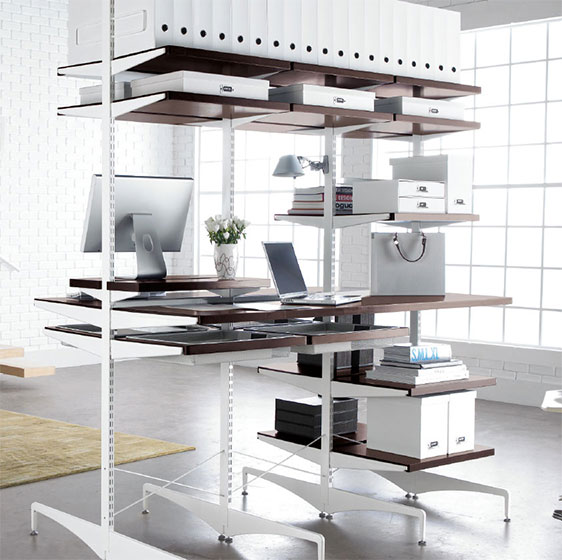 Walnut Elfa Décor freestanding Office