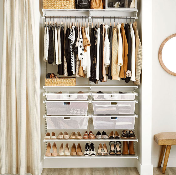 White Elfa Clic Closet With Mesh Drawers