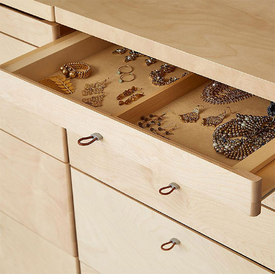 Birch elfa décor Jewelry System with Drawer Fronts and Frames