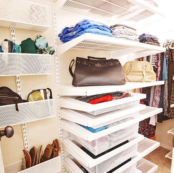 White elfa décor Closet with Gliding Shoe Racks