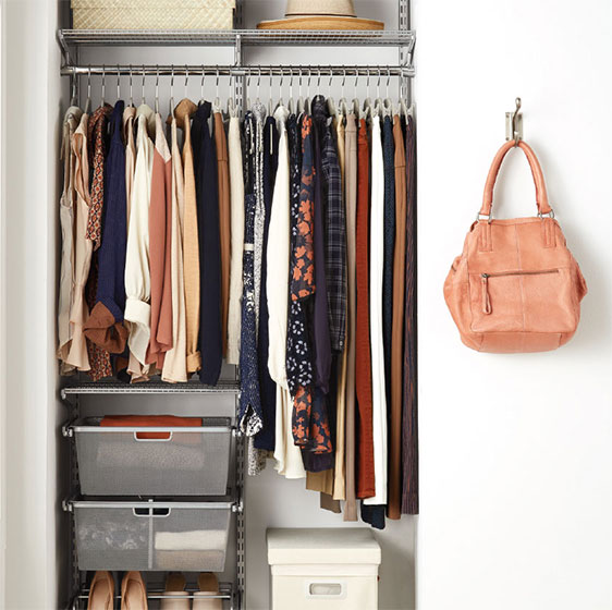 Platinum Elfa Classic Closet With Mesh Drawers