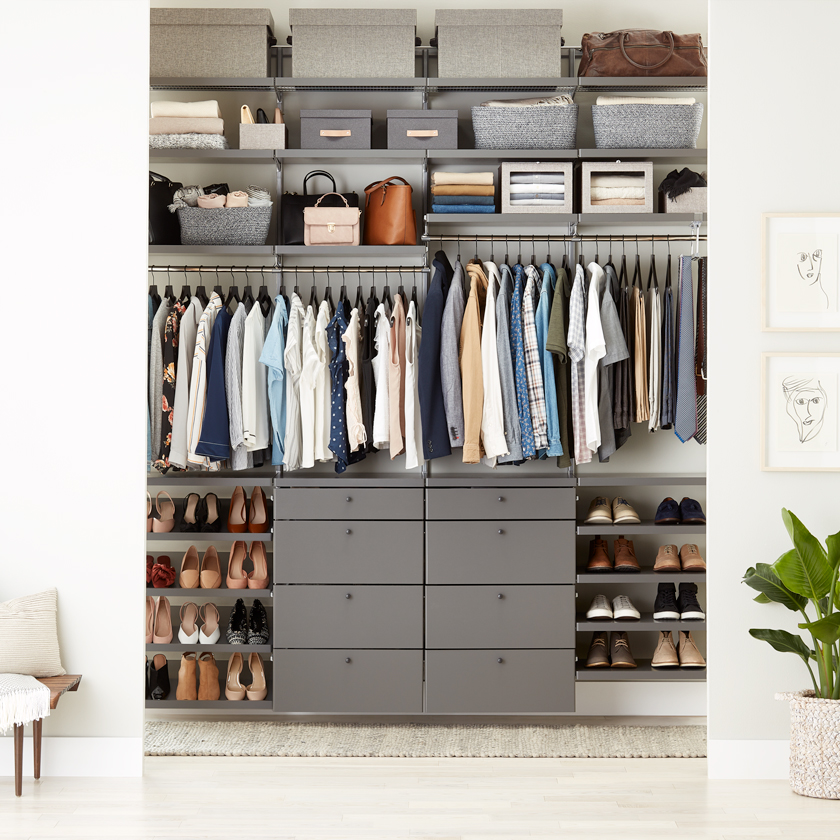 Grey Elfa Décor Closet with Drawer Fronts